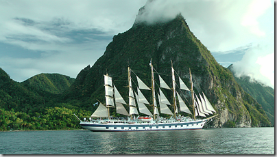 The Royal Clipper in full sail off the isalnd of St Lucia...